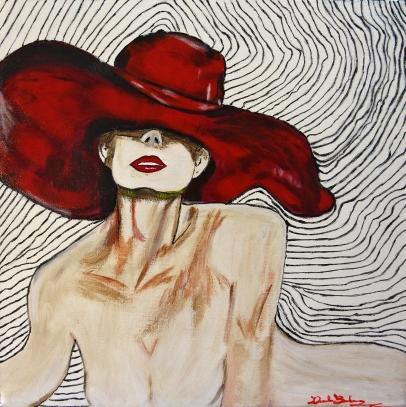 Donna con appello rosso acrilico e flitter su tela 50x50x3 2015